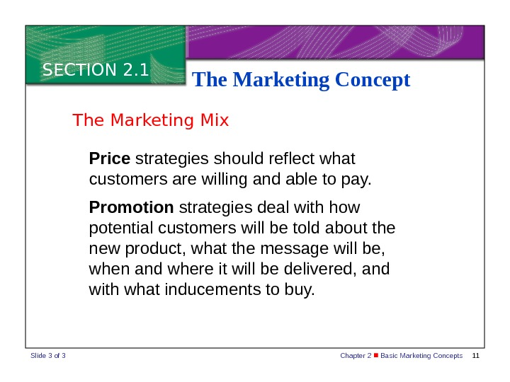 Chapter 2  Basic Marketing Concepts 11 SECTION 2. 1 The Marketing Concept Price strategies should