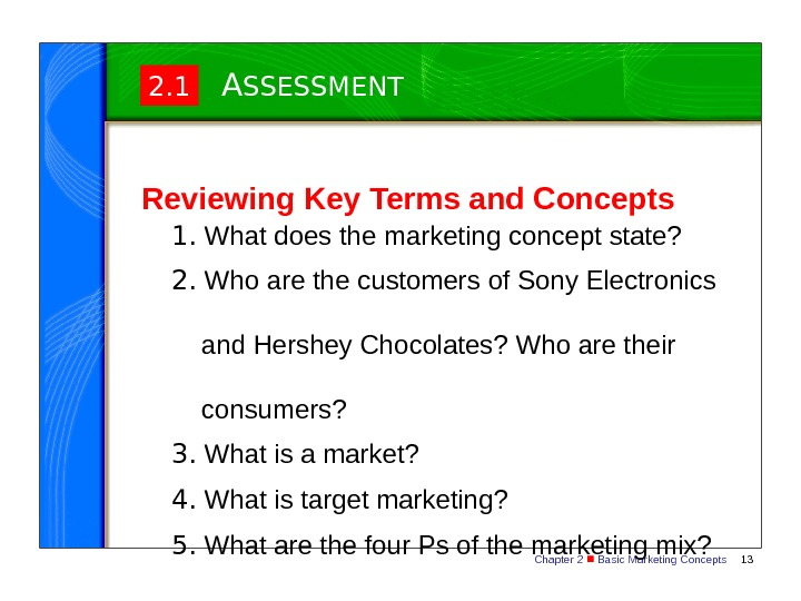 Chapter 2  Basic Marketing Concepts 132. 1 A SSESSMENT Reviewing Key Terms and Concepts 1.