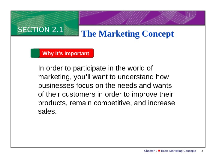 Chapter 2  Basic Marketing Concepts 3 SECTION 2. 1 The Marketing Concept Why It's Important
