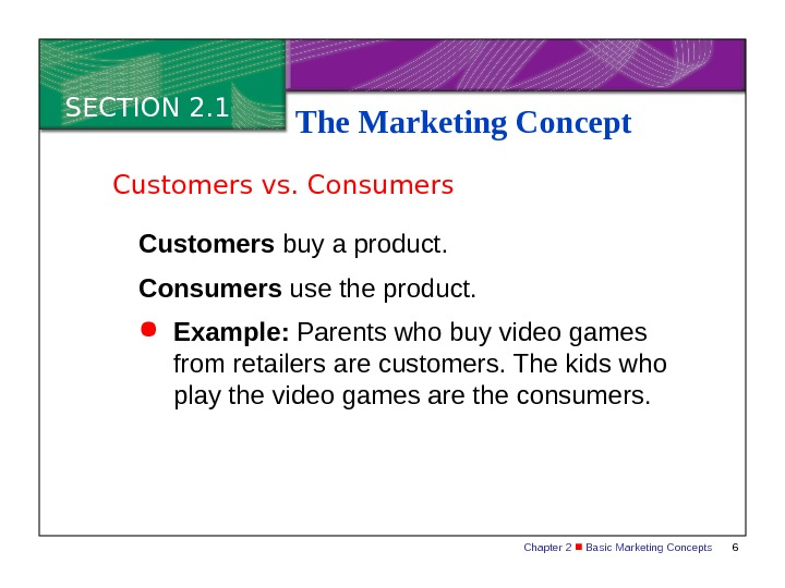 Chapter 2  Basic Marketing Concepts 6 SECTION 2. 1 The Marketing Concept Customers buy a