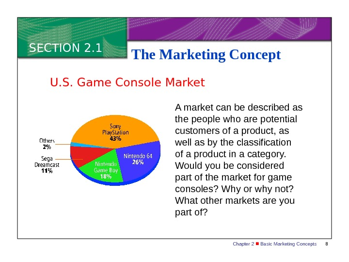 Chapter 2  Basic Marketing Concepts 8 SECTION 2. 1 The Marketing Concept A market can