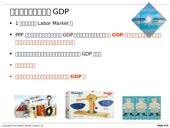 Slide 9 10 Copyright© 2000 Addison. Wesley. Longman, Inc. 第第第第第 GDP • 1 第第第第第第 Labor Market