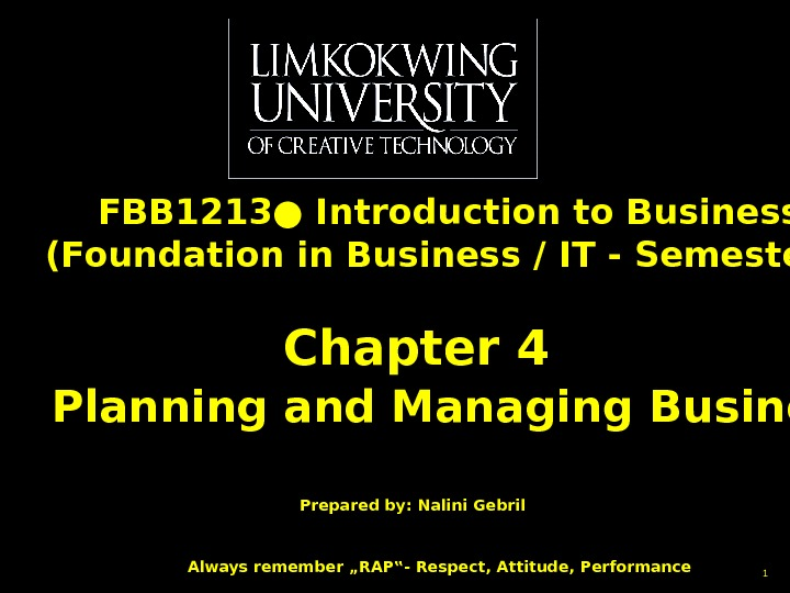 FBB 1213● Introduction to Business (Foundation in Business / IT - Semester 1) Chapter 4 Planning