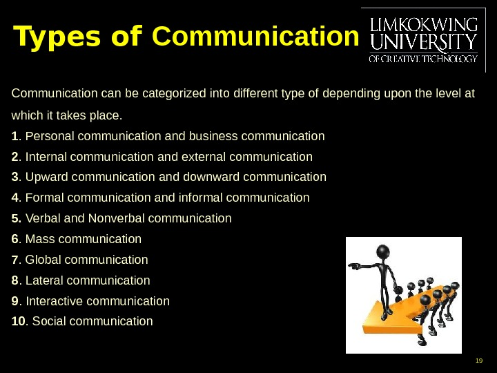 Types of Communications Communication can be categorized into different type of  depending upon the level
