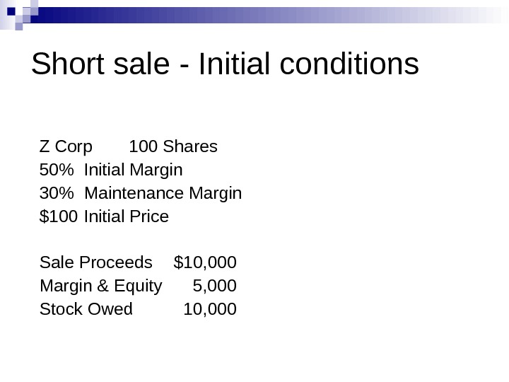 Short sale - Initial conditions Z Corp 100 Shares 50 Initial Margin 30 Maintenance Margin $100