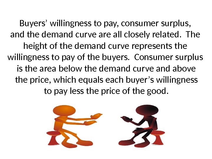 Buyers ' willingness to pay, consumer surplus, and the demand curve are all closely related.