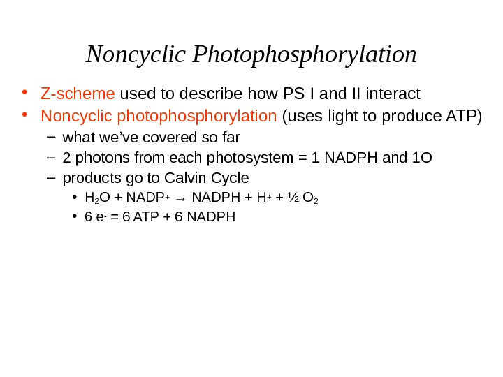 Noncyclic Photophosphorylation • Z-scheme used to describe how PS I and II interact  •