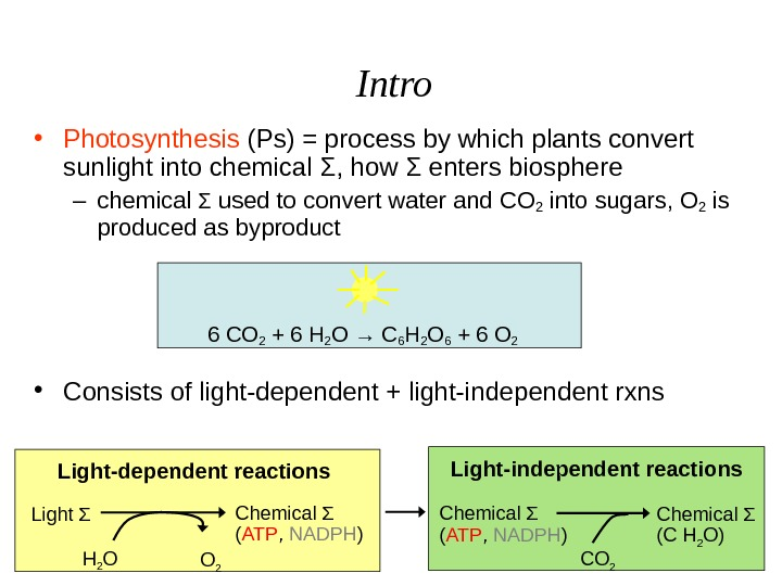 Intro Light Σ H 2 O O 2 Light-dependent reactions Chemical Σ ( ATP ,