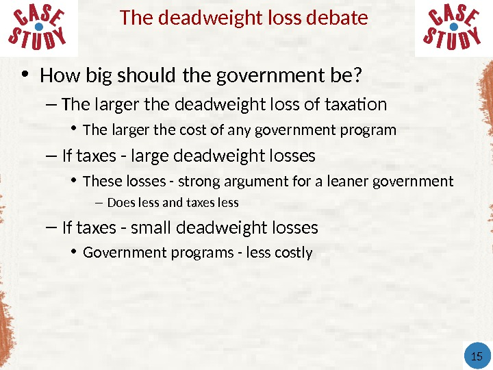 • How big should the government be? – The larger the deadweight loss of taxation