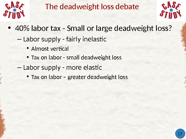 • 40 labor tax - Small or large deadweight loss? – Labor supply - fairly