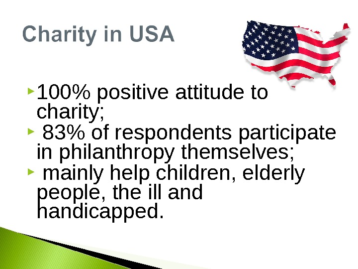 100 positive attitude to charity; 83 of respondents participate in philanthropy themselves; mainly help children,