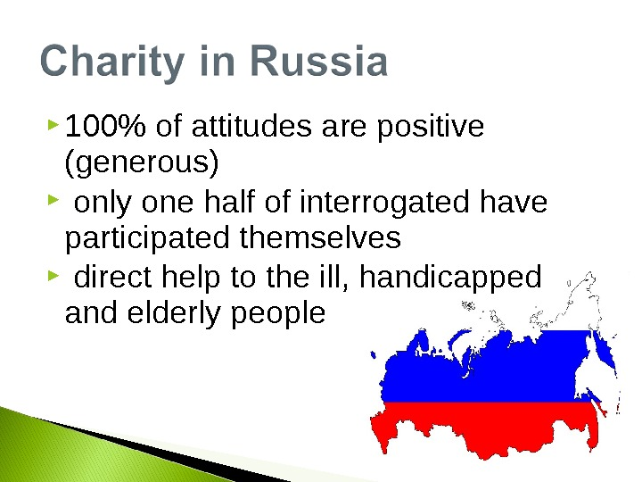 100 of attitudes are positive (generous)  only one half of interrogated have participated themselves