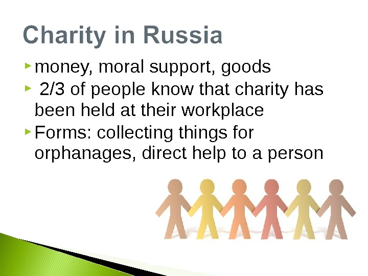 money, moral support, goods  2/3 of people know that charity has been held at
