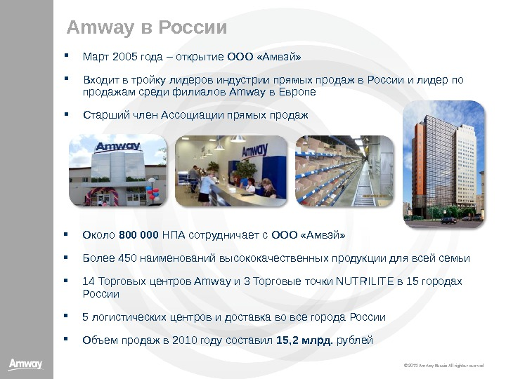 © 20 11  Amway Russia All rights reserved. Amway в России Март 2005 года –