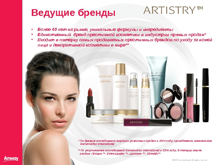 © 20 11  Amway Russia All rights reserved. Ведущие бренды • Более 40 лет на