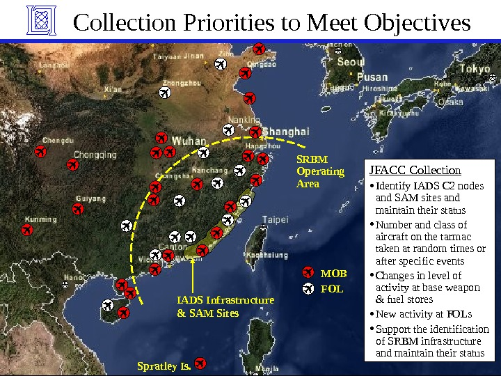 MITLincoln. Laboratory. IADS Infrastructure  & SAM Sites SRBM Operating Area. Collection Priorities to