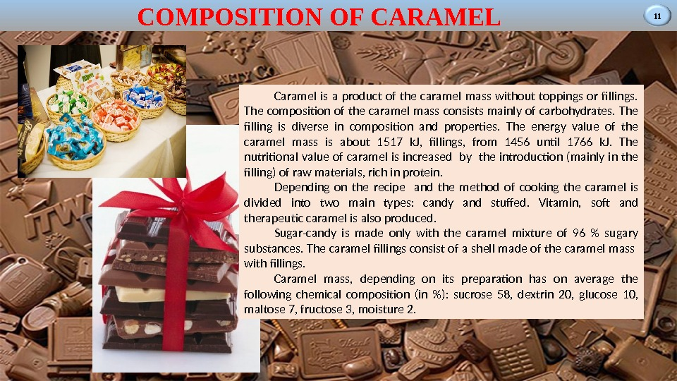 11 COMPOSITION OF CARAMEL Caramel is a product of the caramel mass without toppings or fillings.