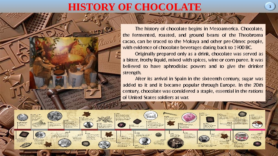 3 HISTORY OF CHOCOLATE The history of chocolate begins in Mesoamerica.  Chocolate,  the fermented,