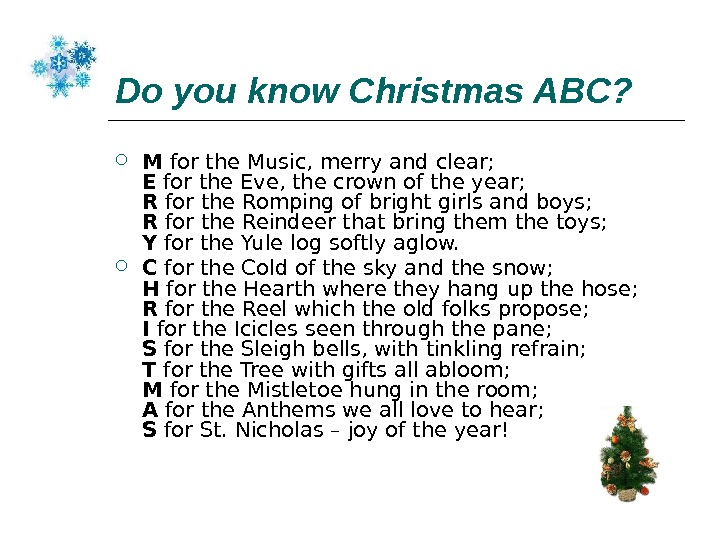 Do you know Christmas ABC? M for the Music, merry and clear; E for the Eve,