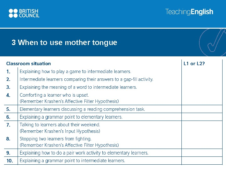3 When to use mother tongue