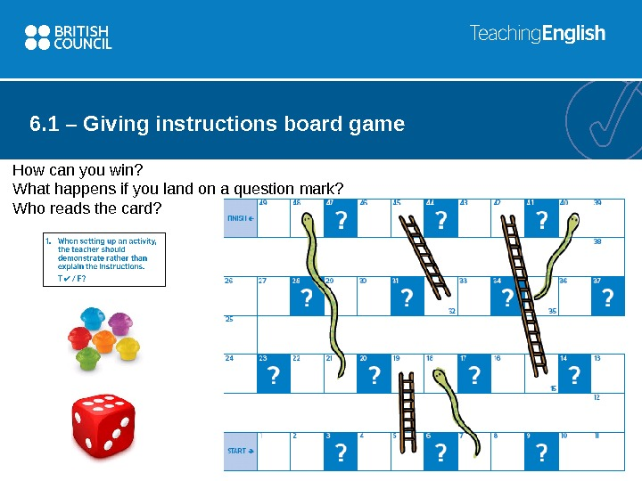6. 1 – Giving instructions board game How can you win? What happens if you land