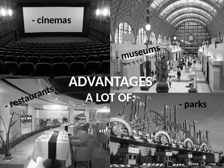 ADVANTAGES  A LOT OF : - cinemas- museums - restaurants - parks