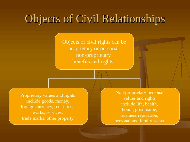 Objects of Civil Relationships Objects of civil rights can be proprietary or personal non-proprietary