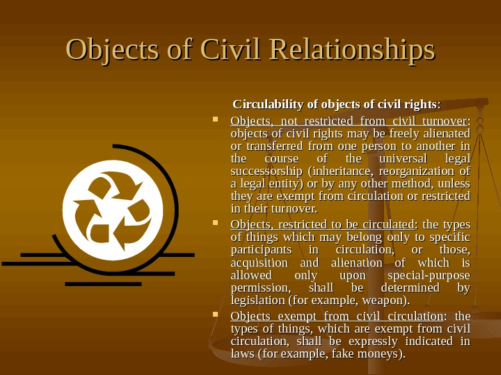 Objects of Civil Relationships  Circulability of objects of civil rights : :