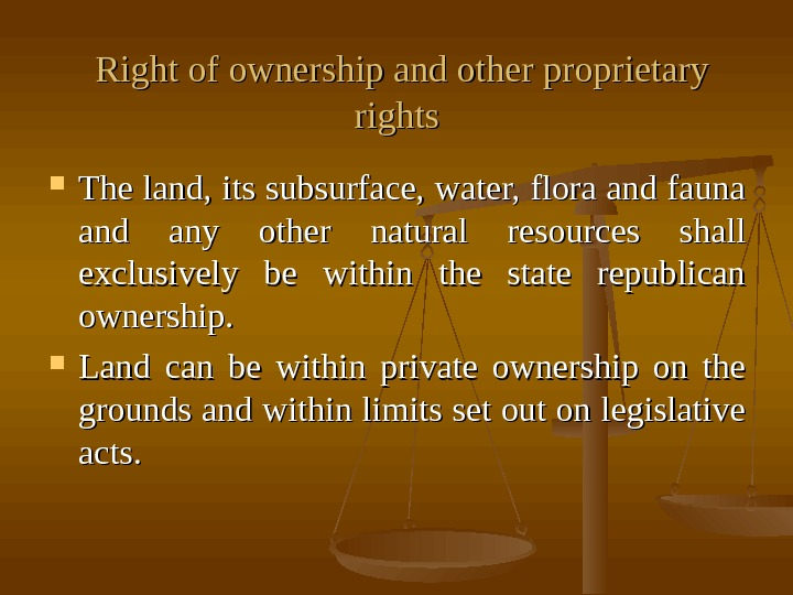Right of ownership and other proprietary rights The land, its subsurface, water, flora and