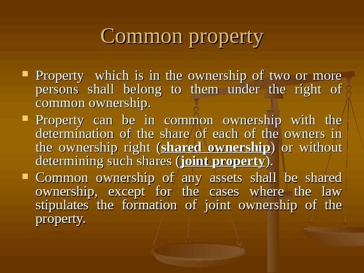 Common property Property  which is in the ownership of two or more persons