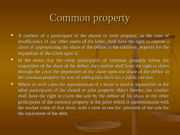 Common property A creditor of a participant of the shared or joint property,