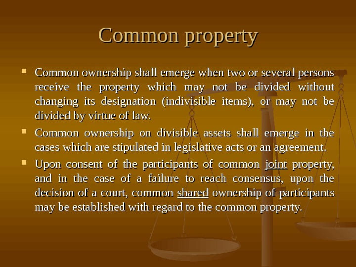 Common property Common ownership shall emerge when two or several persons receive the property