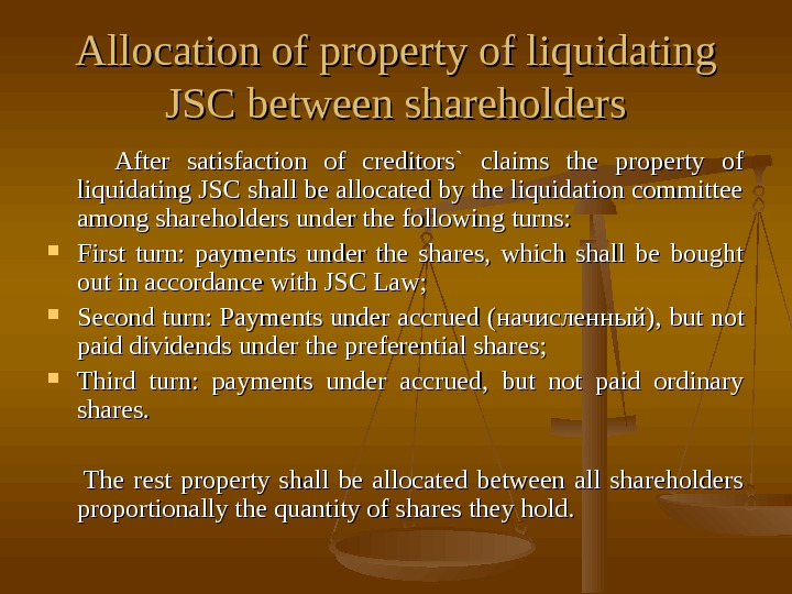 Allocation of property of liquidating JSC between shareholders    After satisfaction of