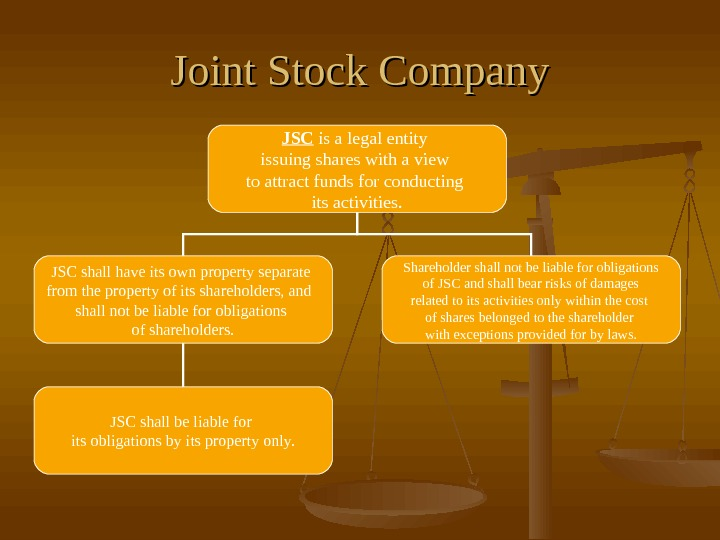 Joint Stock Company JSC is a legal entity issuing shares with a view to