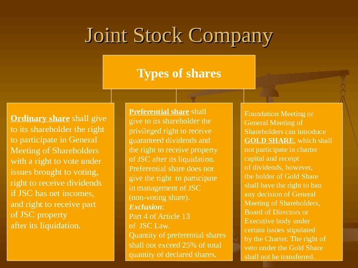Joint Stock Company Types of shares Ordinary share shall give to its shareholder the