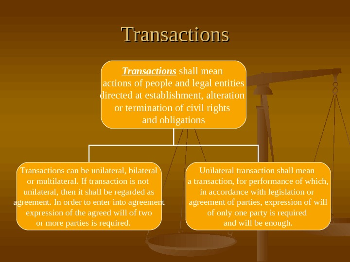 Transactions shall mean actions of people and legal entities directed at establishment, alteration or