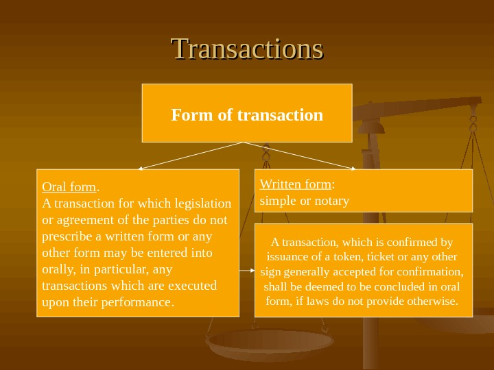 Transactions Form of transaction Oral form. A transaction for which legislation or agreement of