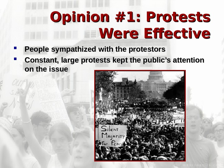 Opinion #1: Protests Were Effective People sympathized with the protestors Constant, large protests kept