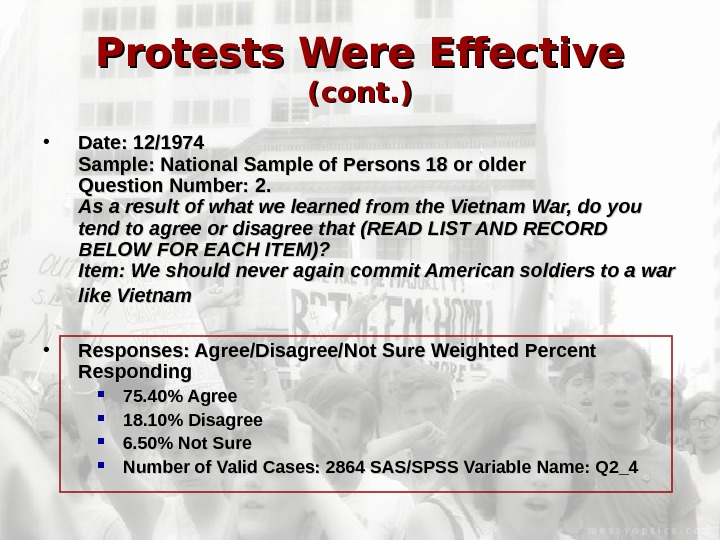Protests Were Effective (cont. ) • Date: 12/1974 Sample: National Sample of Persons 18