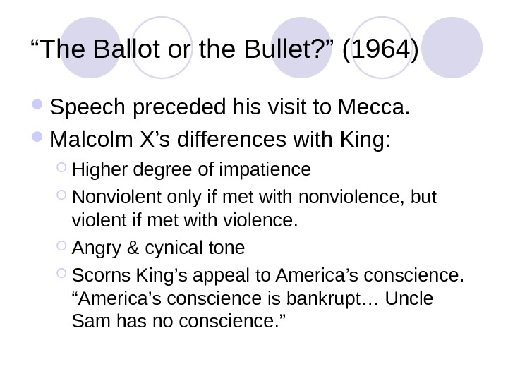 """ The Ballot or the Bullet? "" (1964) Speech preceded his visit to Mecca.  Malcolm"