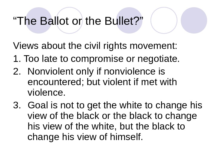 """ The Ballot or the Bullet? "" Views about the civil rights movement: 1. Too late"