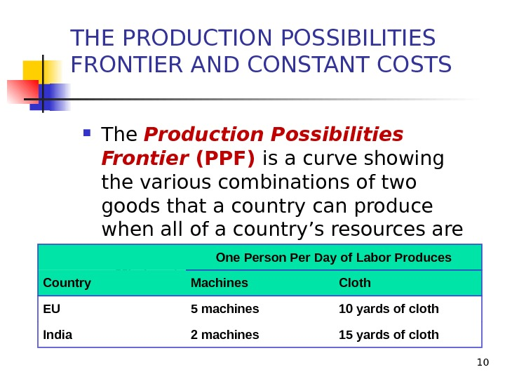 10 The Production Possibilities Frontier (PPF) is a curve showing the various combinations of two goods