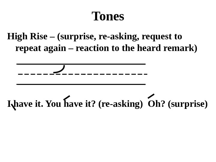 Tones High Rise – (surprise, re-asking, request to repeat again – reaction to the heard remark)