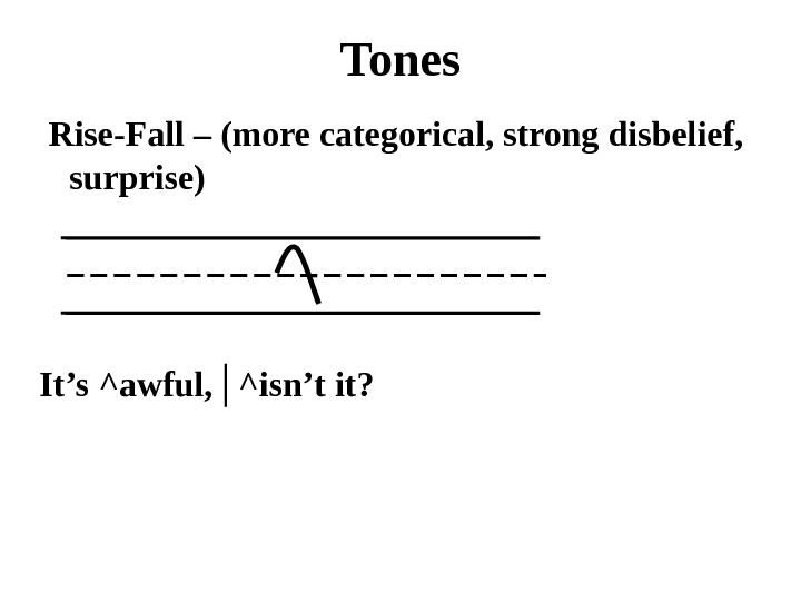 Tones  Rise-Fall – (more categorical, strong disbelief,  surprise) It's ^awful, │^isn't it?