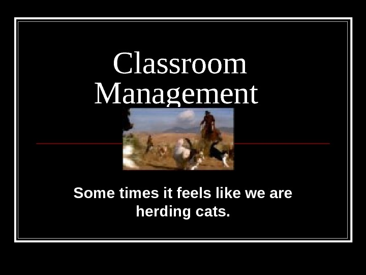 Classroom Management Some times it feels like we are herding cats.