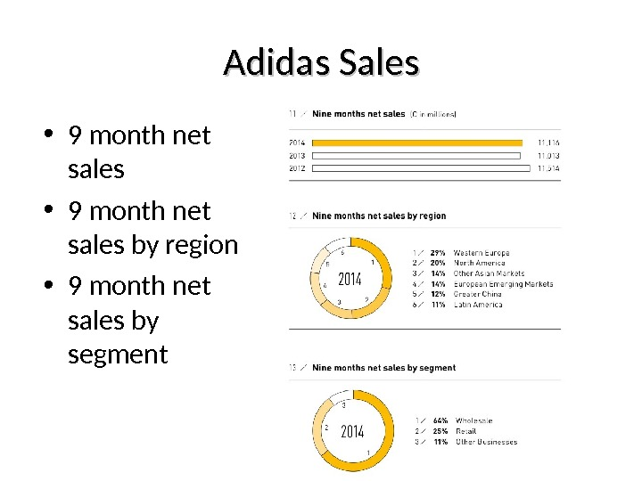 Adidas Sales • 9 month net sales by region • 9 month net sales by segment