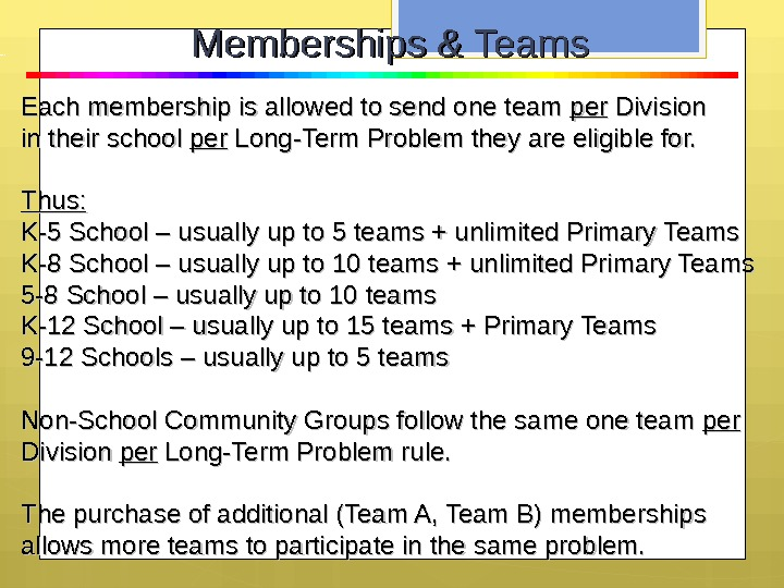 Each membership is allowed to send one team perper Division in their school perper Long-Term Problem