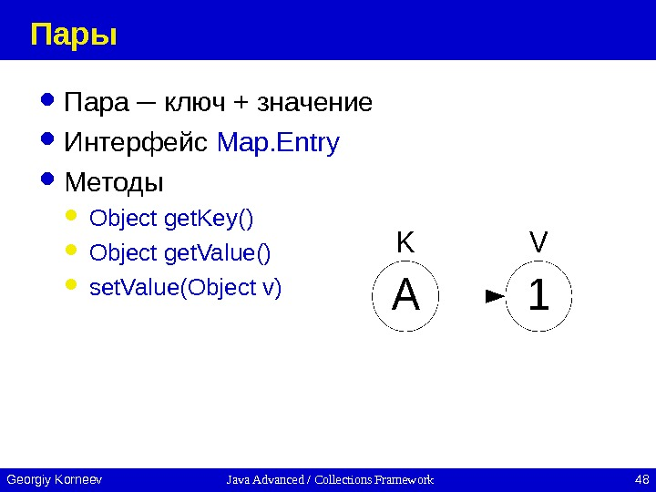 Java Advanced / Collections Framework 48 Georgiy Korneev Пары Пара ─ ключ + значение Интерфейс Map.