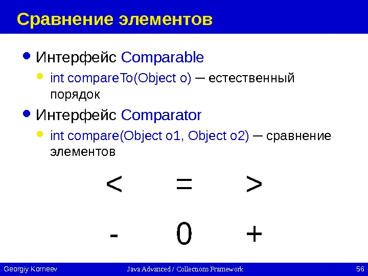 Java Advanced / Collections Framework 56 Georgiy Korneev Сравнение элементов Интерфейс Comparable int compare. To(Object o)