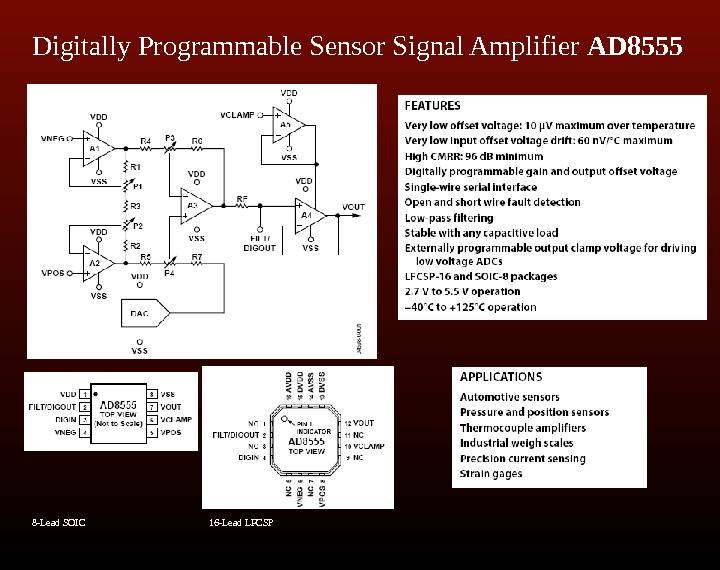 Digitally Programmable Sensor Signal Amplifier AD 8555   8 -Lead SOIC